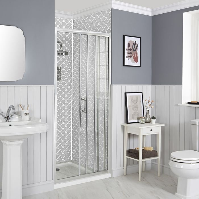 Milano Langley - Recessed Traditional Sliding Shower Door with Tray - Choice of Sizes