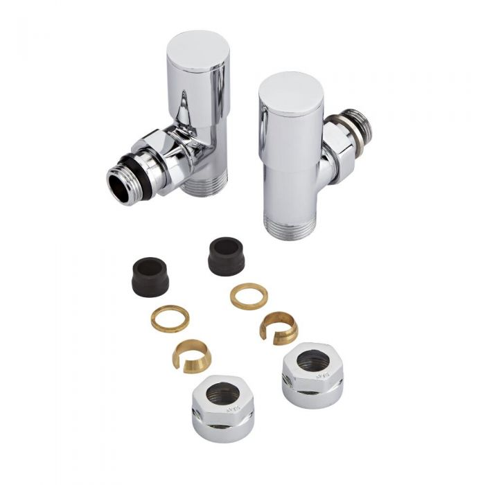 Milano - Chrome Radiator Valves - 15mm Copper Adapters