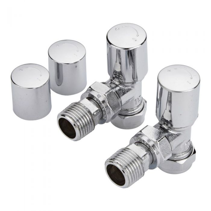 Milano - Angled Radiator Valves - Chrome (Pair)