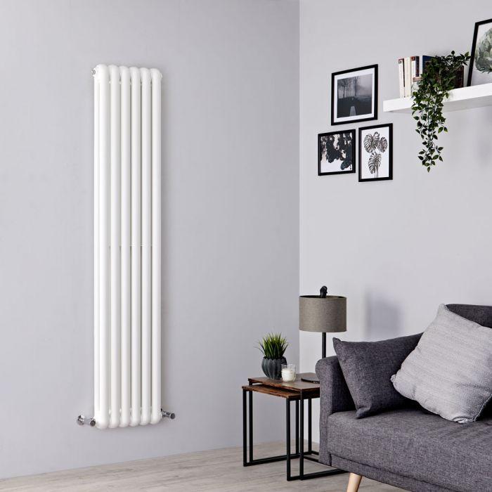 Milano Urban - White Vertical Column Radiator - 1800mm x 383mm (Double Column)