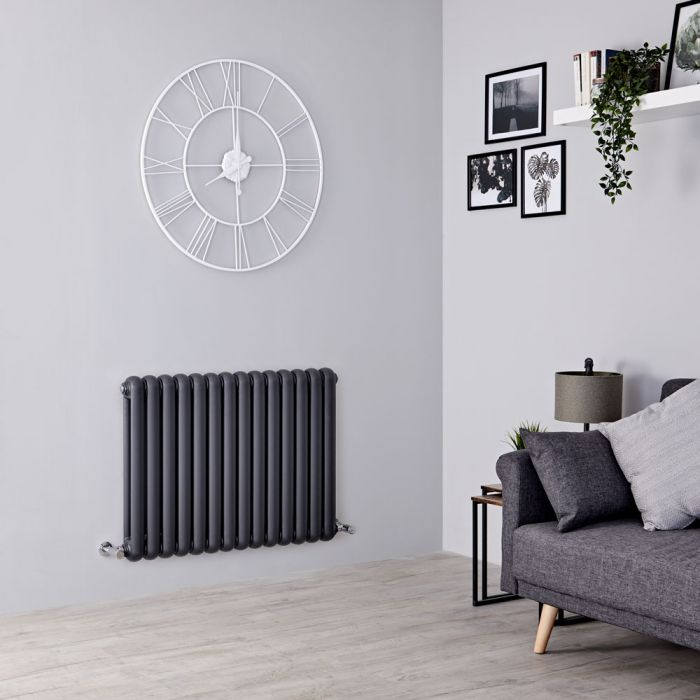 Milano Urban - Anthracite Horizontal Column Radiator - 635mm x 863mm (Double Column)