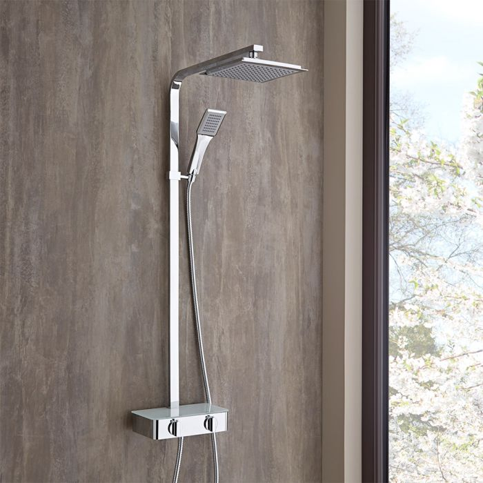 Milano Select - Chrome Thermostatic Mixer Shower with Shower Head, Hand Shower and Riser Rail (2 Outlet)