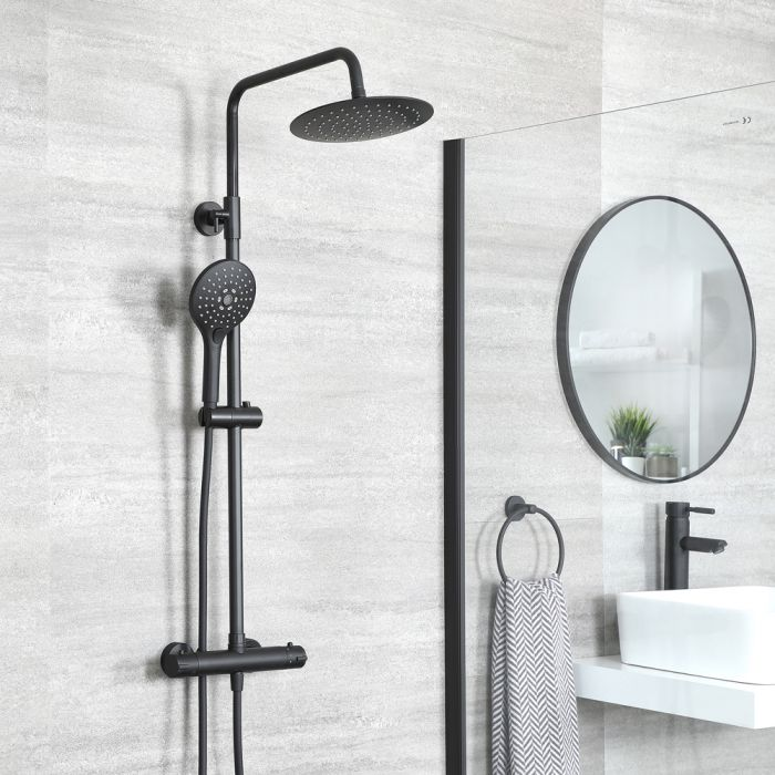 Milano Nero - Modern Thermostatic Round Bar Shower Valve with Multi Function Hand Shower and Shower Head - Black