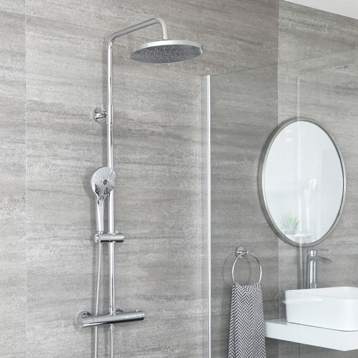 Milano Mirage - Modern Thermostatic Round Bar Shower Valve with Multi Function Hand Shower and Shower Head - Chrome