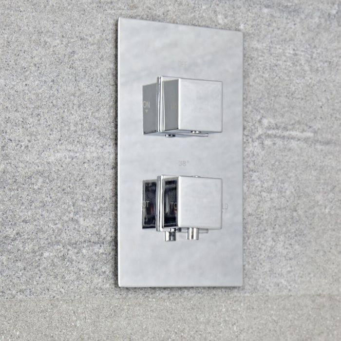 Milano Arvo - Modern 1 Outlet Square Twin Thermostatic Shower Valve - Chrome
