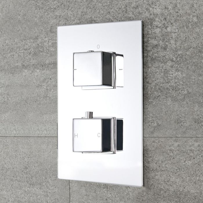 Milano Arvo - Modern 2 Outlet Square Twin Diverter Thermostatic Shower Valve - Chrome
