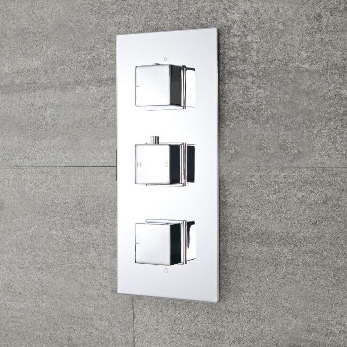 Milano Arvo - Modern 2 Outlet Square Triple Thermostatic Shower Valve - Chrome