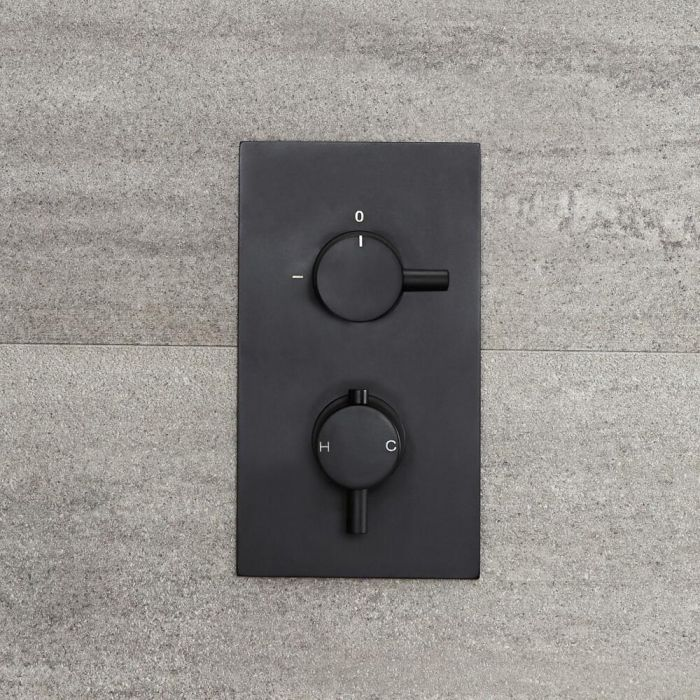 Milano Nero - Twin Thermostatic Diverter Shower Valve - Two Outlets - Black