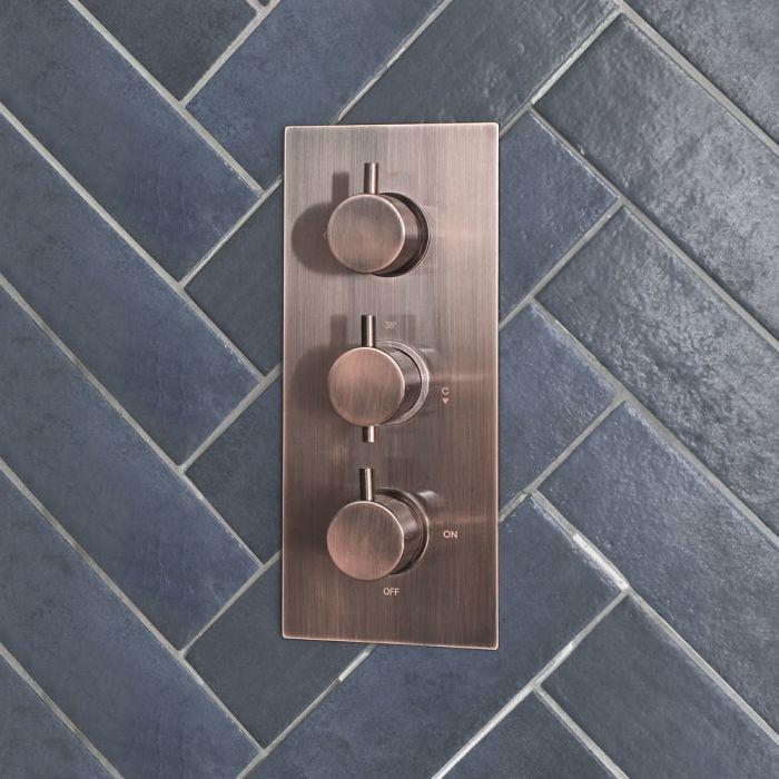Milano Amara - Modern 3 Outlet Triple Diverter Thermostatic Shower Valve - Brushed Copper
