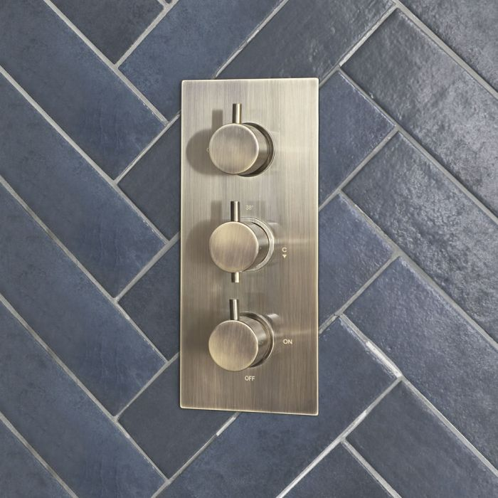 Milano Clarus - Modern 2 Outlet Triple Thermostatic Shower Valve - Brushed Gold