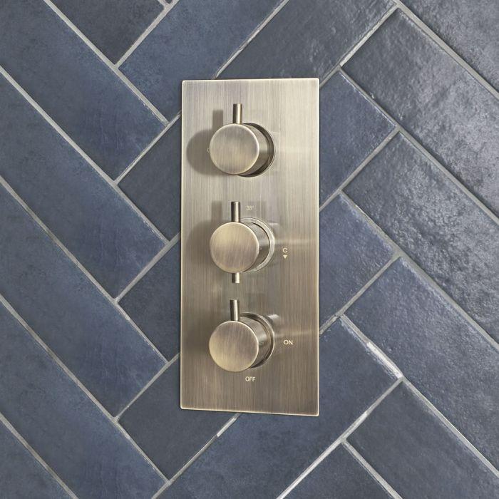 Milano Clarus - Modern 3 Outlet Triple Diverter Thermostatic Shower Valve - Brushed Gold