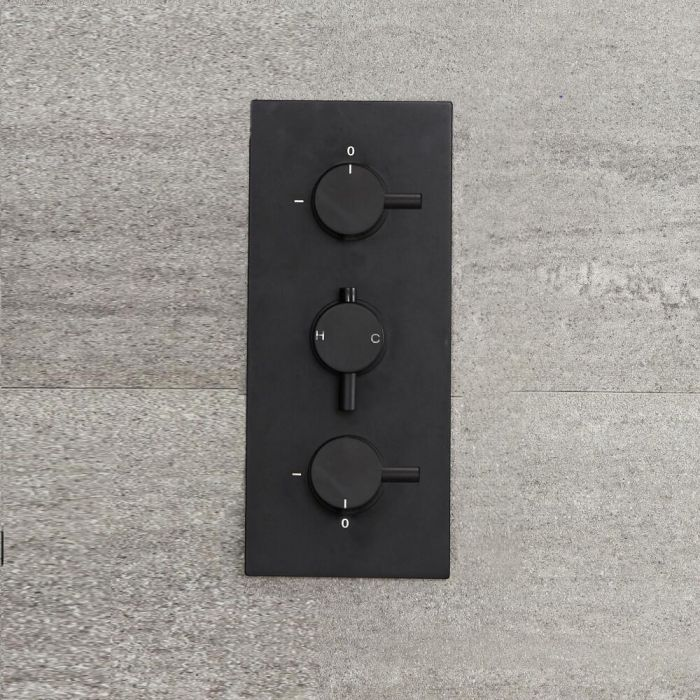Milano Nero - Triple Thermostatic Diverter Shower Valve - Three Outlets - Black