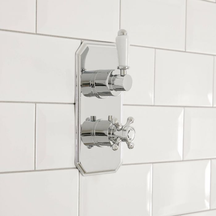 Milano Elizabeth - Traditional 1 Outlet Concealed Thermostatic Twin Shower Valve