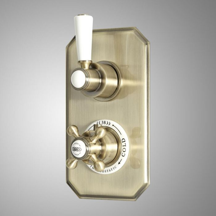 Milano Elizabeth - Traditional Concealed Thermostatic Twin Diverter Shower Valve - Brushed Gold