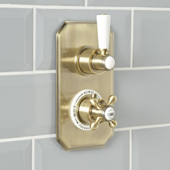 Milano Elizabeth - Traditional Concealed Thermostatic Twin Shower Valve - Brushed Gold