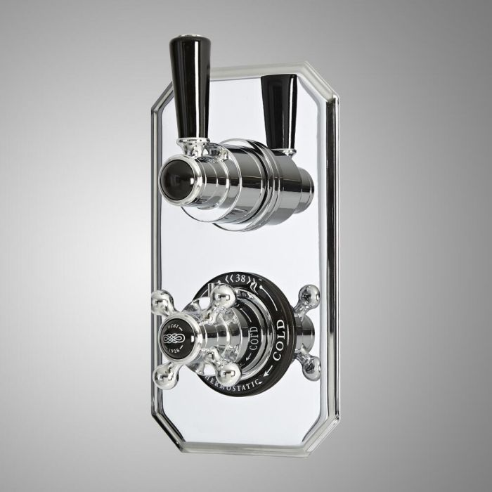 Milano Elizabeth - Traditional Concealed Thermostatic Twin Diverter Shower Valve - Chrome and Black