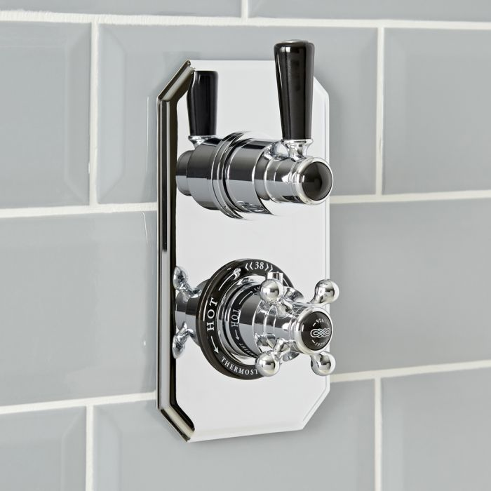 Milano Elizabeth - Traditional Concealed Thermostatic Twin Shower Valve - Chrome and Black