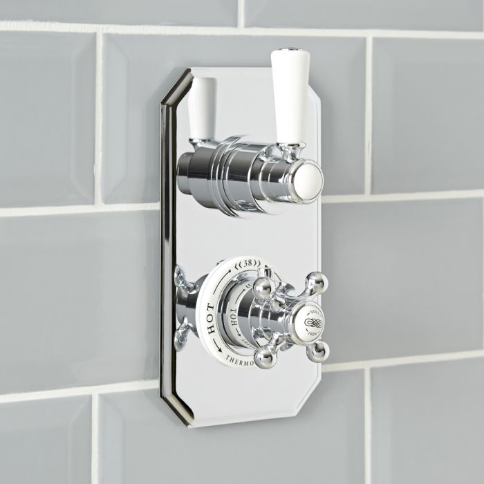 Milano Elizabeth - Traditional Concealed Thermostatic Twin Shower Valve - Chrome and White