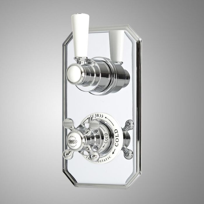 Milano Elizabeth - Traditional Concealed Thermostatic Twin Diverter Shower Valve - Chrome and White