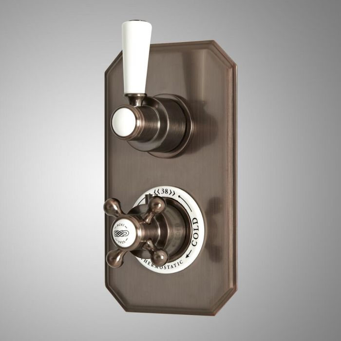 Milano Elizabeth - Traditional Concealed Thermostatic Twin Diverter Shower Valve - Oil Rubbed Bronze