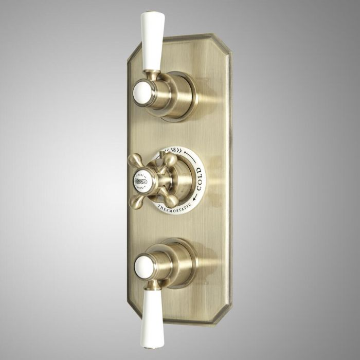 Milano Elizabeth - Traditional Concealed Thermostatic Triple Diverter Shower Valve - Brushed Gold
