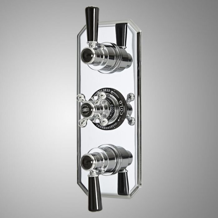 Milano Elizabeth - Traditional Concealed Thermostatic Triple Diverter Shower Valve - Chrome and Black