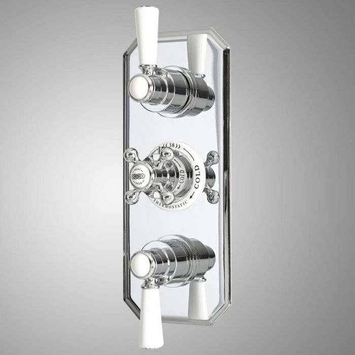 Milano Elizabeth - Traditional Concealed Thermostatic Triple Diverter Shower Valve - Chrome and White