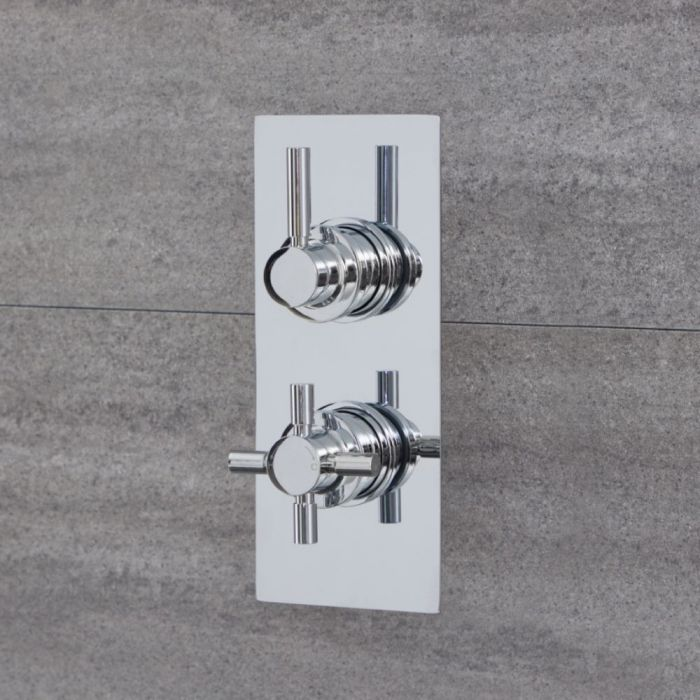 Milano Tec - Round 1 Outlet Twin Thermostatic Shower Valve - Chrome
