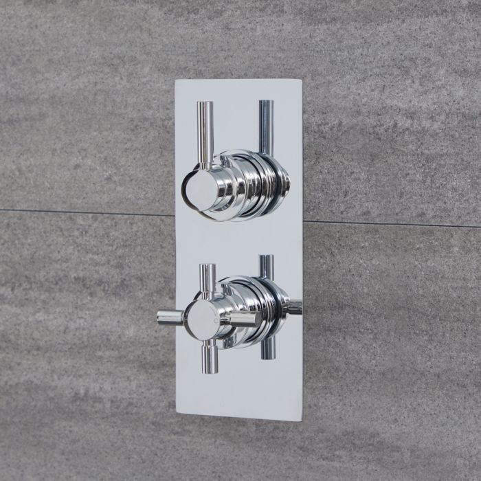 Milano Tec - Modern 2 Outlet Round Twin Diverter Thermostatic Shower Valve - Chrome
