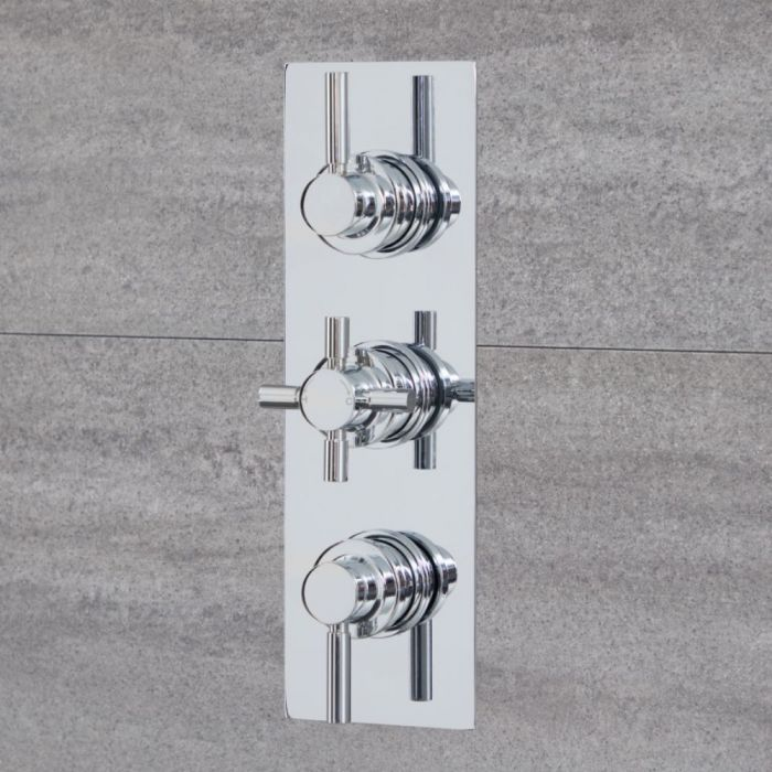 Milano Tec - Round 2 Outlet Triple Thermostatic Shower Valve - Chrome