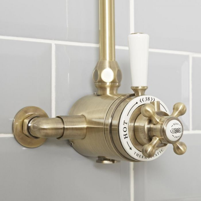 Milano Elizabeth - Traditional Dual Control Exposed Thermostatic Shower Valve - Brushed Gold