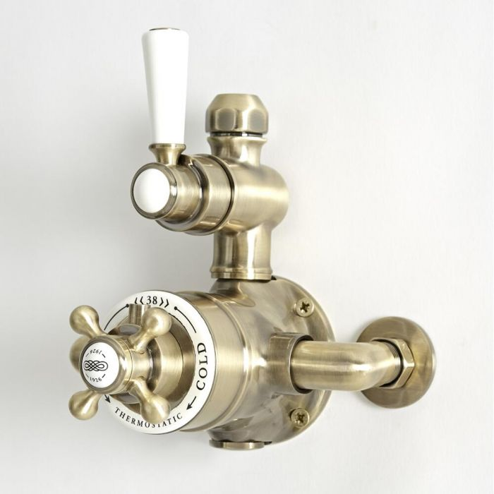 Milano Elizabeth - Traditional Twin Exposed Thermostatic Shower Valve - Brushed Gold