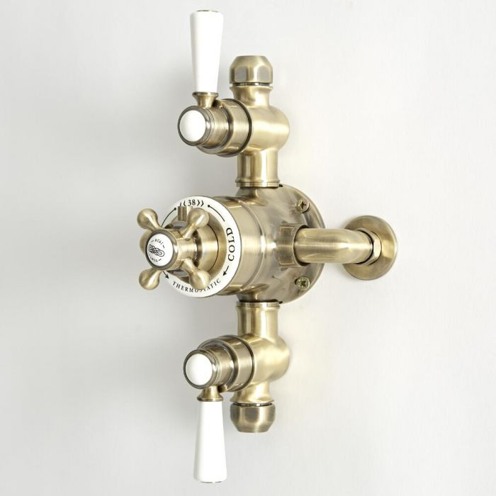 Milano Elizabeth - Traditional Triple Exposed Thermostatic Shower Valve - Brushed Gold