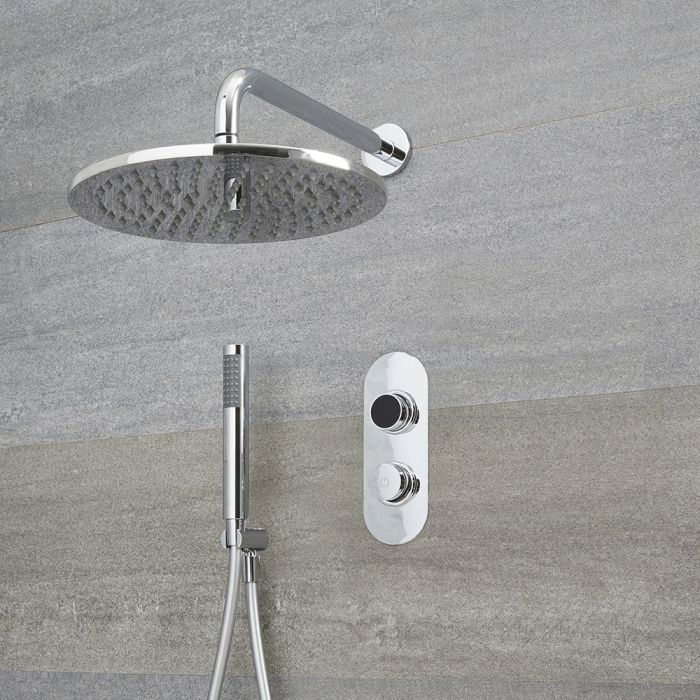 Milano Vis - Chrome Thermostatic Digital Shower with Round Shower Head and Hand Shower (2 Outlet)