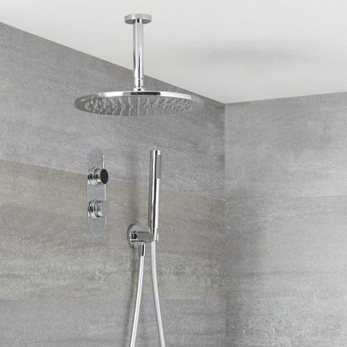 Milano Vis - Chrome Thermostatic Digital Shower with Ceiling Mounted Round Shower Head and Hand Shower (2 Outlet)