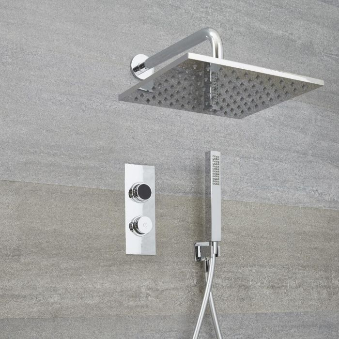 Milano Vis - Chrome Thermostatic Digital Shower with Square Shower Head and Hand Shower (2 Outlet)