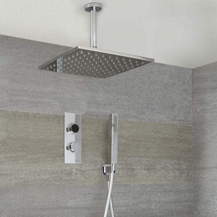 Milano Vis - Chrome Thermostatic Digital Shower with Ceiling Mounted Square Shower Head and Hand Shower (2 Outlet)