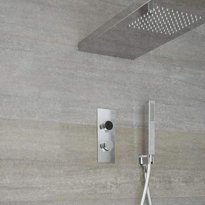 Milano Vis - Chrome Thermostatic Digital Shower with Glass Grabbing Shower Head and Hand Shower (2 Outlet)