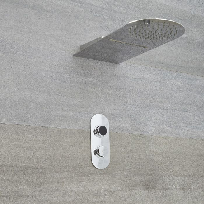 Milano Vis - Chrome Thermostatic Digital Shower with Round Waterblade Shower Head (2 Outlet)