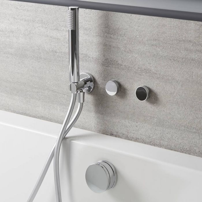 Milano Vis - Digital Thermostatic Control with Hand Shower, Overflow Bath Filler and Waste - Chrome