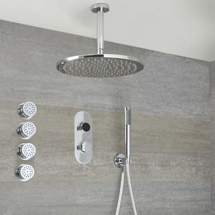 Milano Vis - Chrome Thermostatic Digital Shower with Round Shower Head, Hand Shower and Body Jets (3 Outlet)