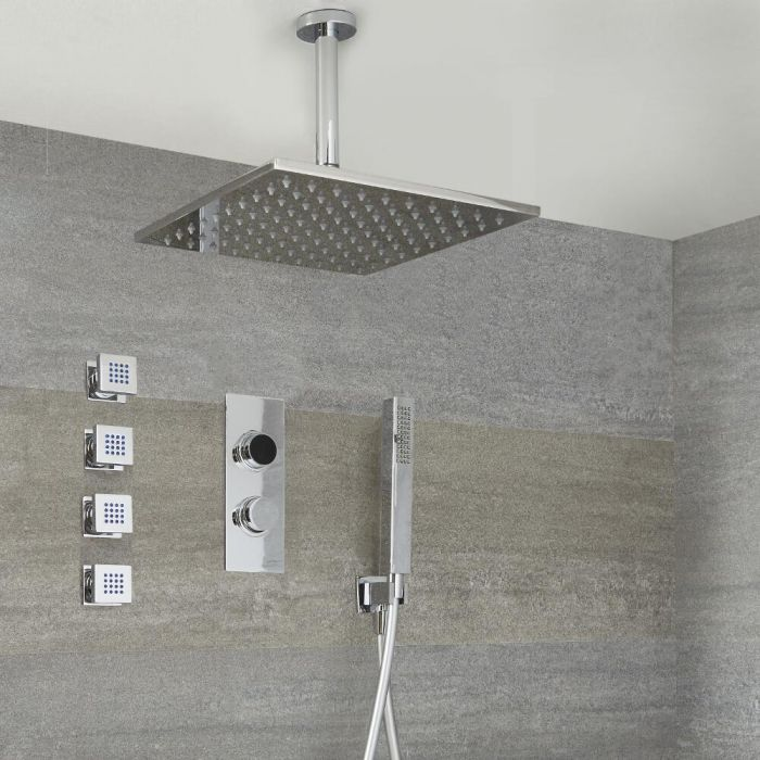 Milano Vis - Chrome Thermostatic Digital Shower with Square Shower Head, Hand Shower and Body Jets (3 Outlet)