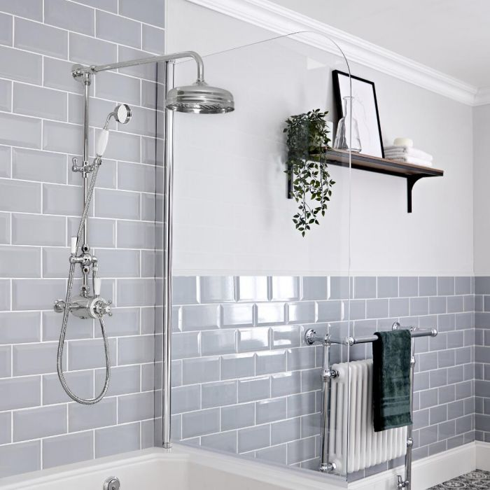 Milano Elizabeth - Chrome and White Traditional Dual Exposed Thermostatic Shower with Grand Rigid Riser Rail (2 Outlet)