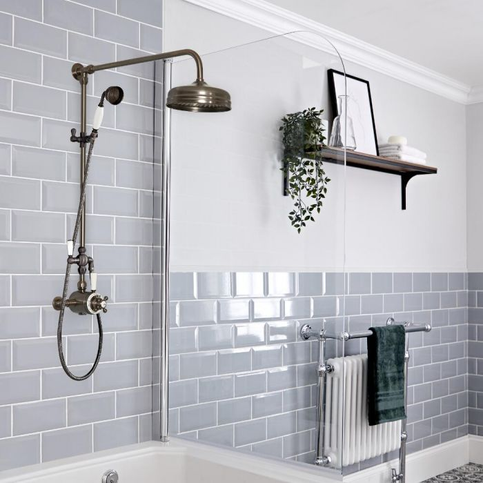 Milano Elizabeth - Oil Rubbed Bronze Traditional Dual Exposed Thermostatic Shower with Grand Rigid Riser Rail (2 Outlet)