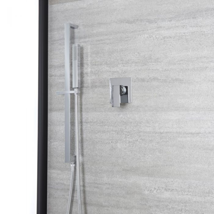 Milano Arvo - Chrome Shower with Square Hand Shower and Riser Rail (1 Outlet)