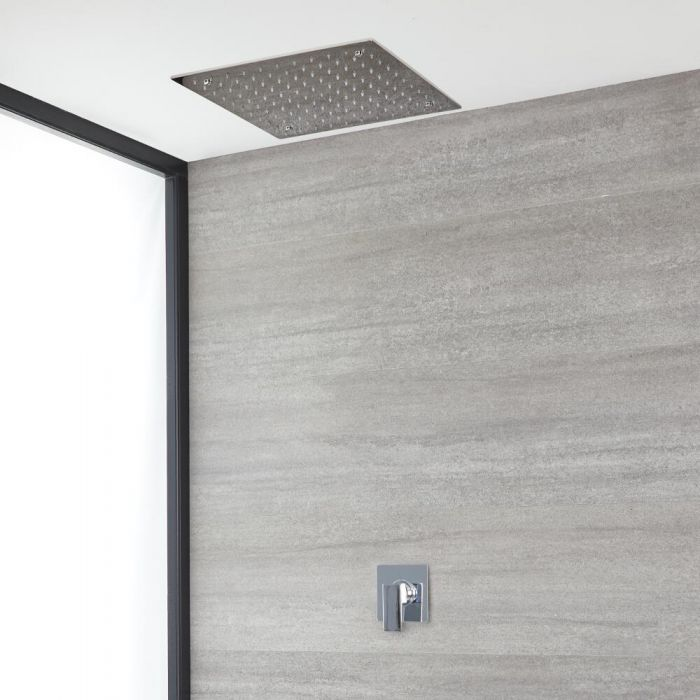Milano Arvo - Chrome Shower with Recessed Shower Head (1 Outlet)