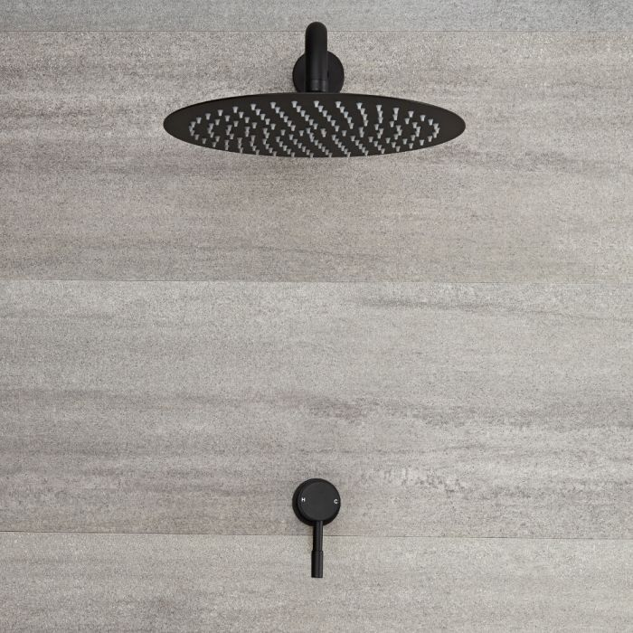 Milano Nero - Black Shower with Wall Mounted Round Shower Head (1 Outlet)