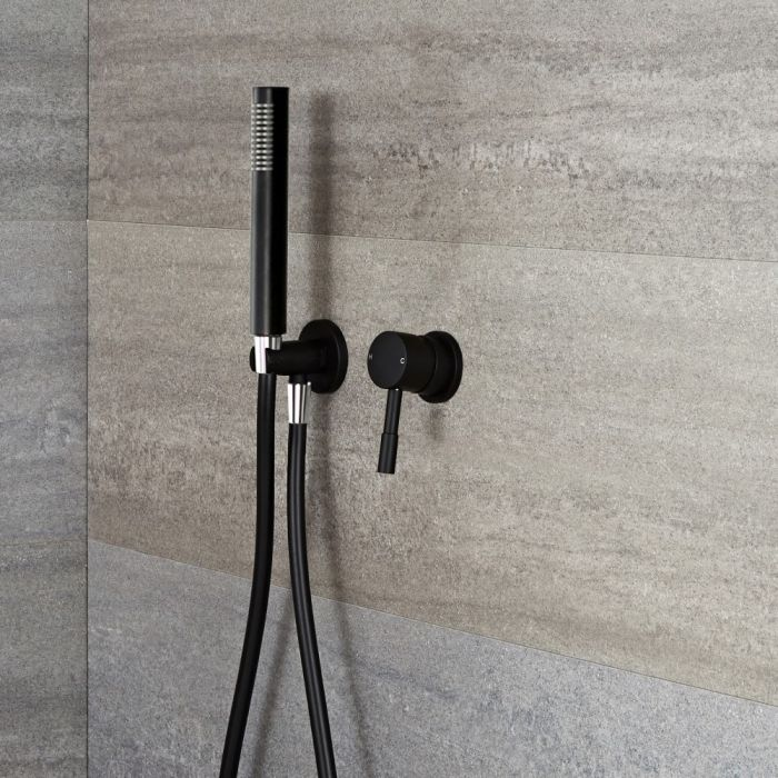 Milano Nero - Black Shower with Pencil Hand Shower Kit (1 Outlet)