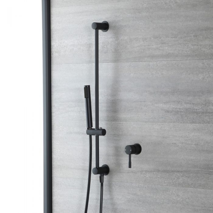 Milano Nero - Black Shower with Riser Rail and Hand Shower (1 Outlet)