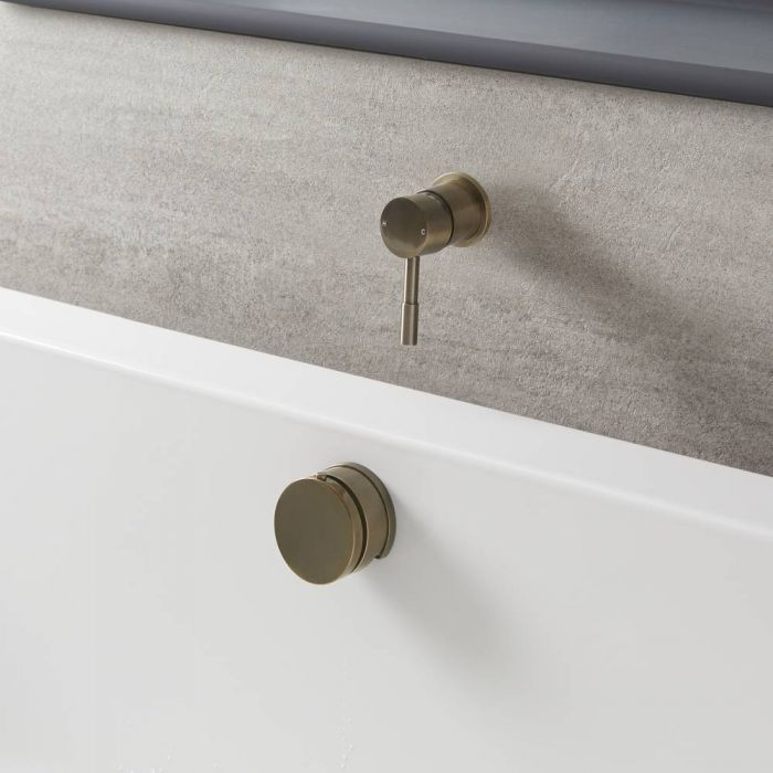 Milano Clarus - Modern One Outlet Valve with Overflow Bath Filler and Waste - Brushed Gold